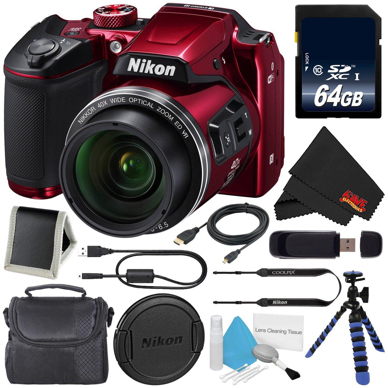 NikonデジタルカメラCoolpix b500ブラック26506 + 32 GB SDHCクラス10メモリカード+柔軟な三脚のグリップハンドルゴム脚+スモールソフト携帯ケース+マイクロHDMIケーブル+ SDカードUSBリーダーバンドル, 64GB, 26508-2 64GB レッド B078JXLQC3