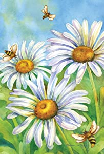 Toland Home Garden Honey Bees and Daisies 28 x 40 Inch Decorative Spring Bee Daily Flower House Flag