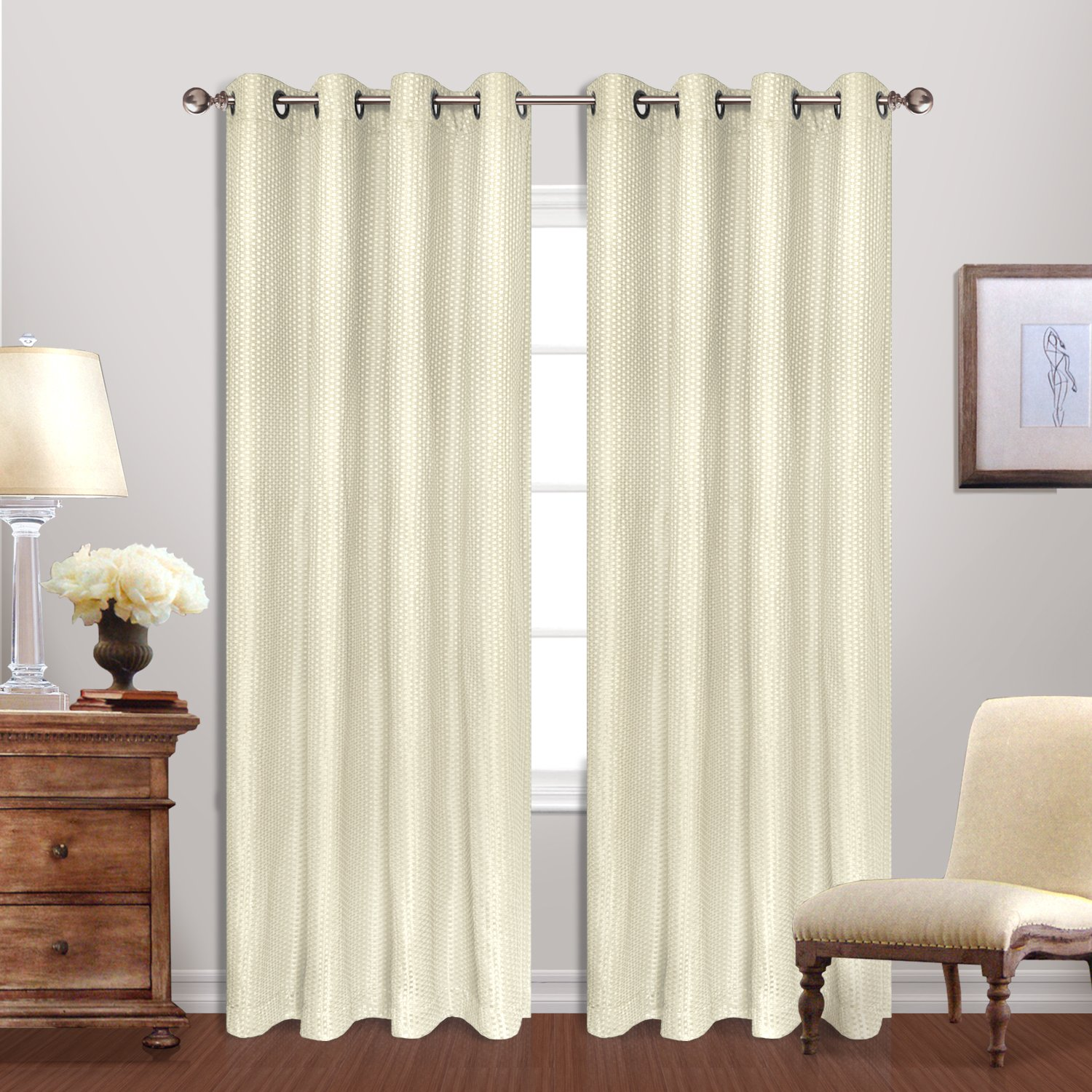 Amazon.com: United Curtain Hamden Woven Waffle Window Curtain Panel ...