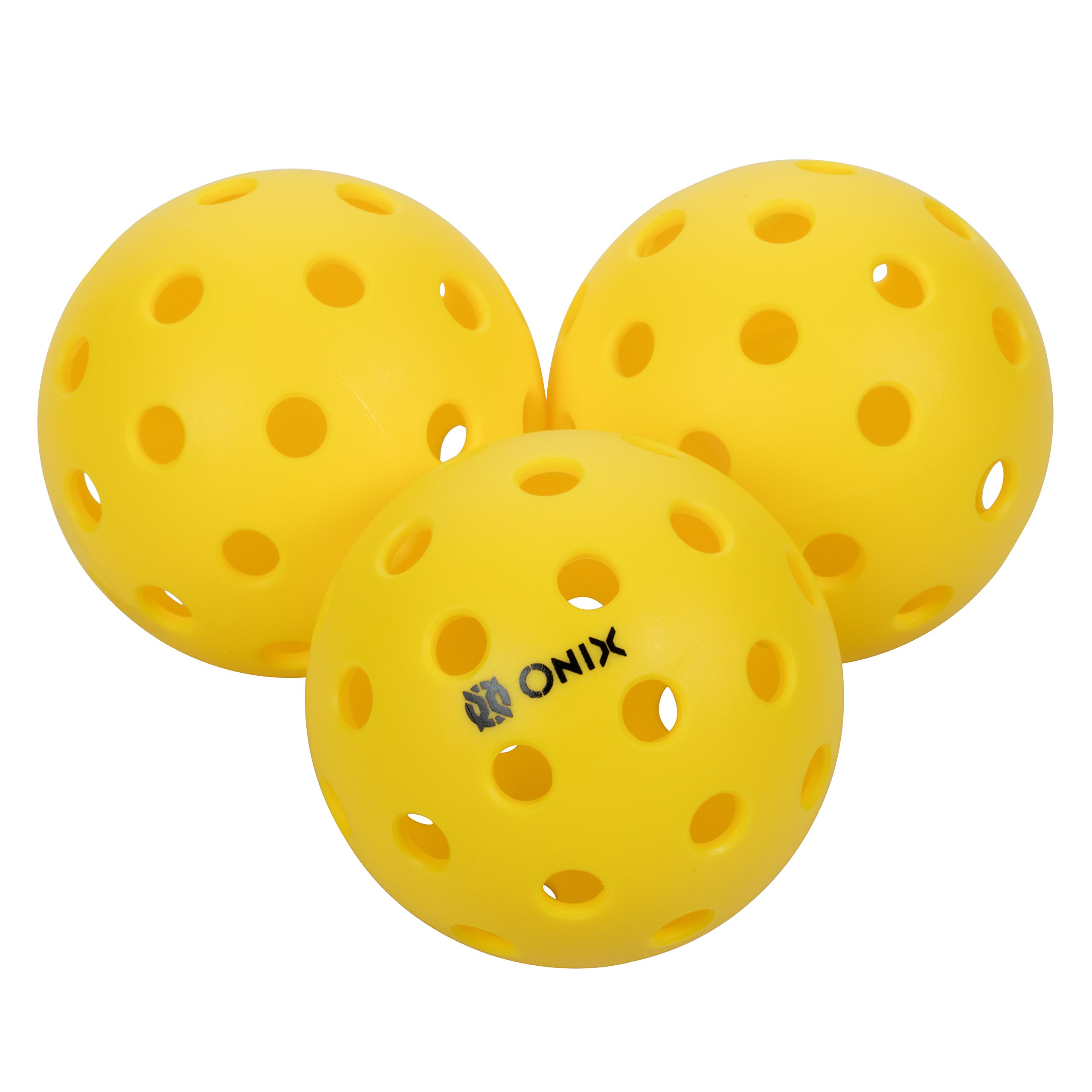 Onix Pure 2 Outdoor Pickleball Balls Weighted Heavier for Extreme Outdoor Conditions (Yellow, 3-Pack) by Onix