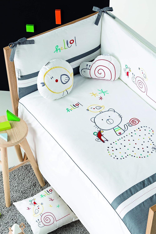 pirulos 21013510Steppdecke, Nestchen und Kissen, Motiv Be Happy, 62x 125cm, weiß und grau
