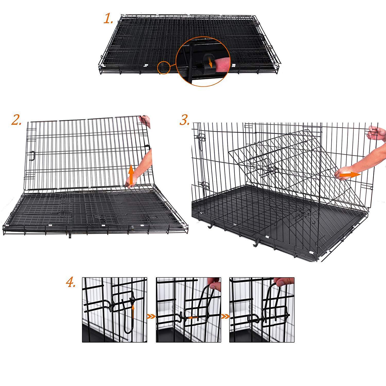 FEANDREA Cage pour Chien 2 Portes Pliable et Transportable avec Poign/ées et Plateau Noir XL 91 x 58 x 64 cm PPD36H