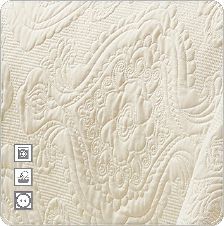 3-teilig Moonlight20015 Tagesdecken-Set mit Stickerei grau f/ür Schlafzimmer und Wohnzimmer 170 x 200 CM doppelseitige Tagesdecke mit zwei Kissenbez/üge Single