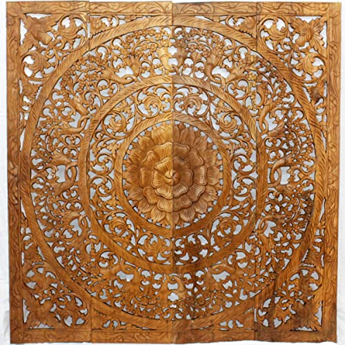 Haussmann Teak Lotus Panel 48 x 48 inches H-3D Brown Stain Wax