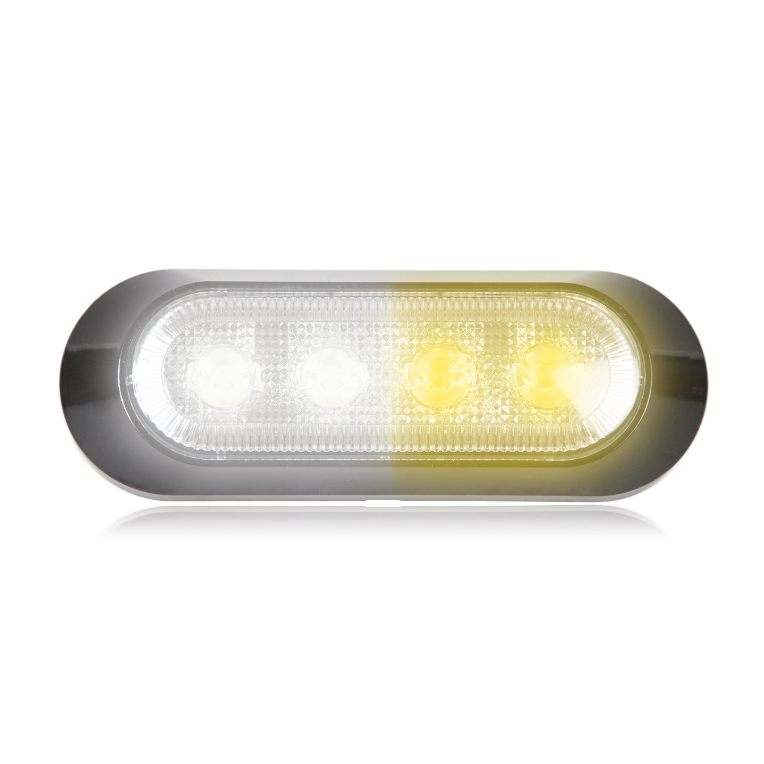 Maxxima M20384WYCL 4 LED White/Amber Clear Ultra 0.9'' Thin Profile Warning Strobe Light by Maxxima