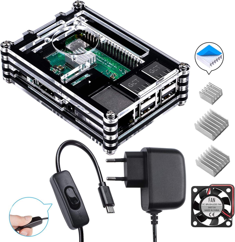 para Raspberry Pi 3 b+ Caja con Cargador de 5V / 3A con Conector ON/Off + 3X Disipador + Ventilador Compatible con Case Raspberry Pi 3 2 Modelo b+ b (No Incluye la Placa Raspberry Pi)