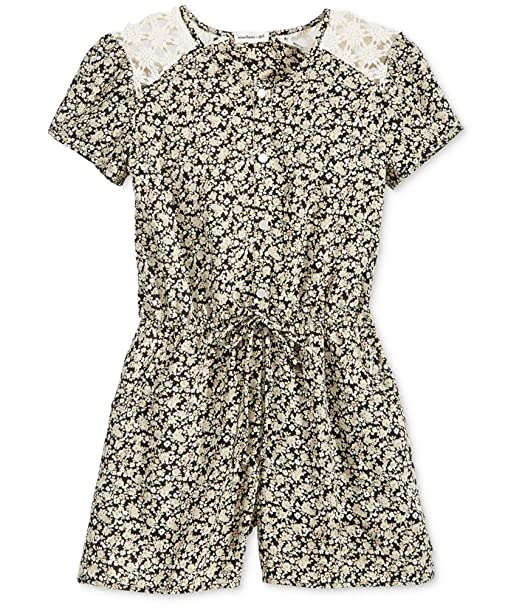 75680ec2e696 Image Unavailable. Image not available for. Color  Monteau Girls  Lace  Floral Romper Size M