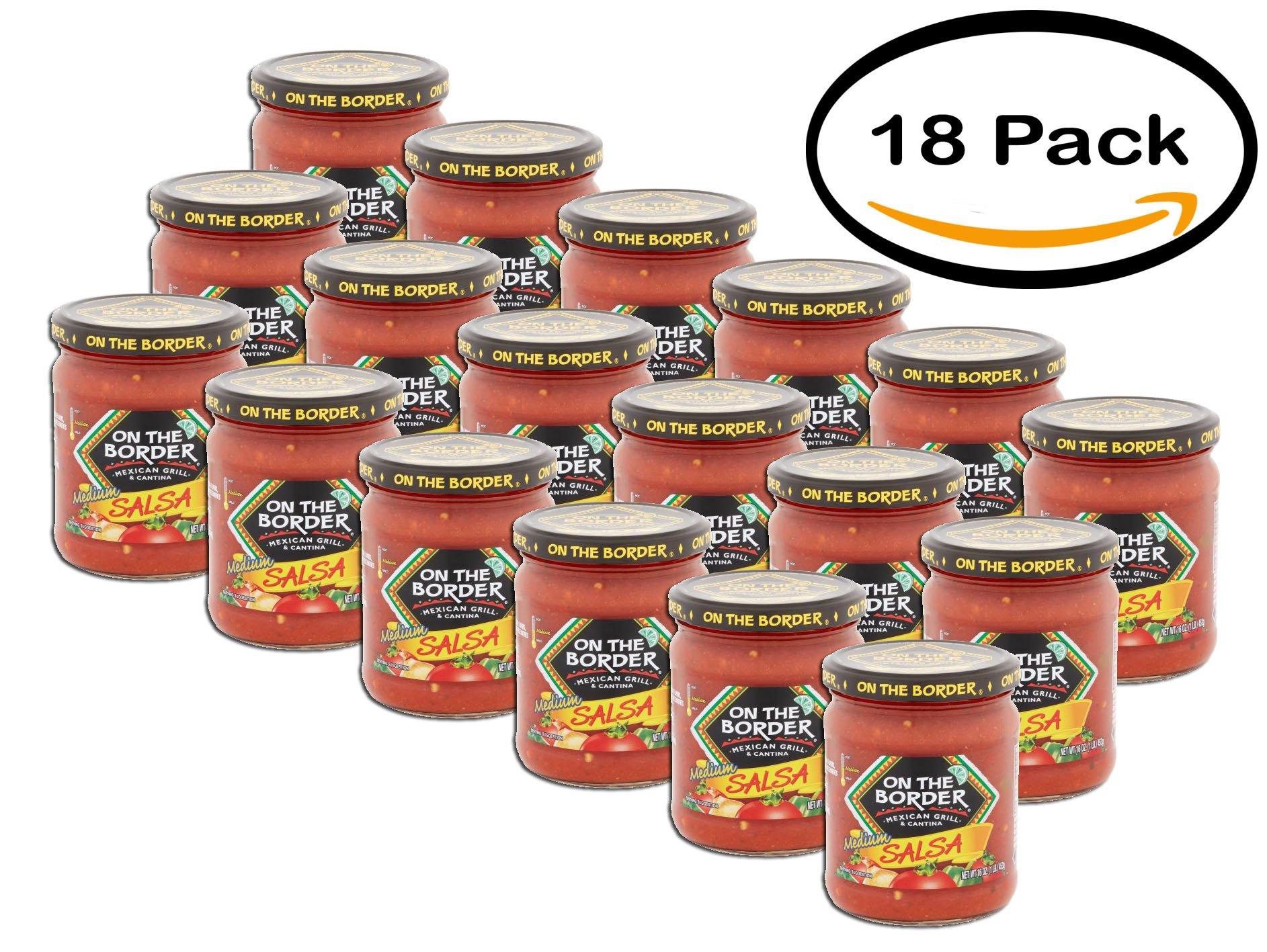 PACK OF 18 - On The Border Salsa Medium, 16.0 OZ by Border