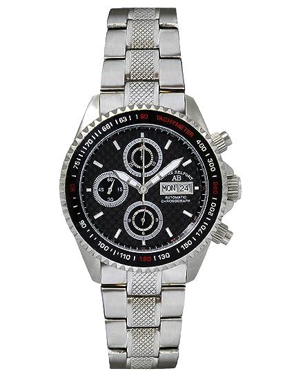 André Belfort 410130 - Reloj cronógrafo de caballero automático con correa de acero inoxidable plateada (cronómetro) - sumergible a 100 metros: Amazon.es: ...