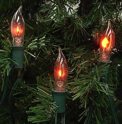 Set of 7 Flicker Flame Shape C18 Christmas Lights - Green Wire - Amazon.com: Set Of 7 Flicker Flame Shape C18 Christmas Lights