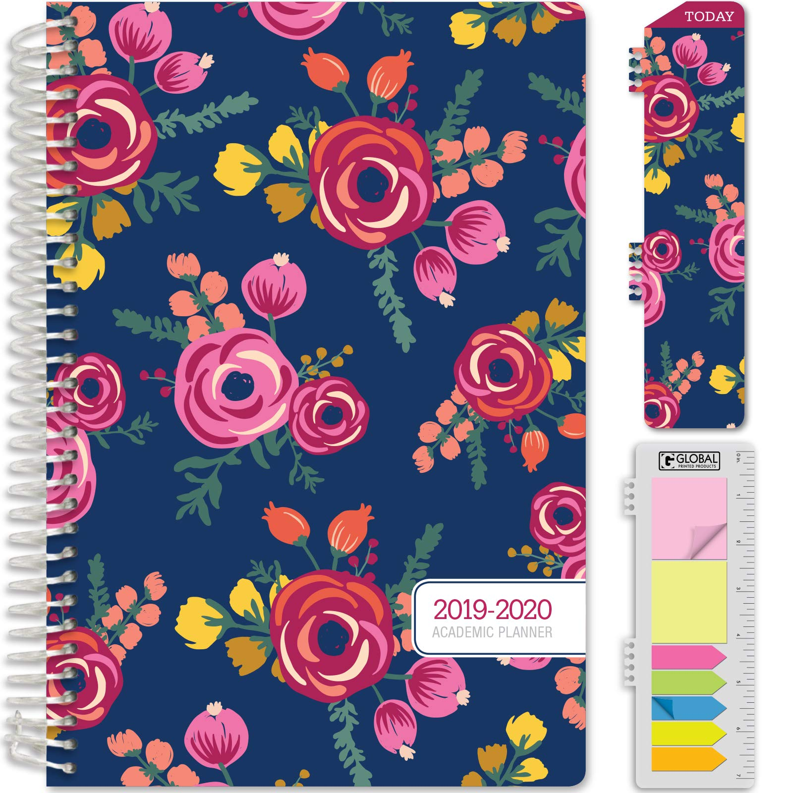 HARDCOVER Academic Year 2019-2020 Planner: (June 2019 Through July 2020) 5.5''x8'' Daily Weekly Monthly Planner Yearly Agenda. Bonus Bookmark, Pocket Folder and Sticky Note Set (Bloom)