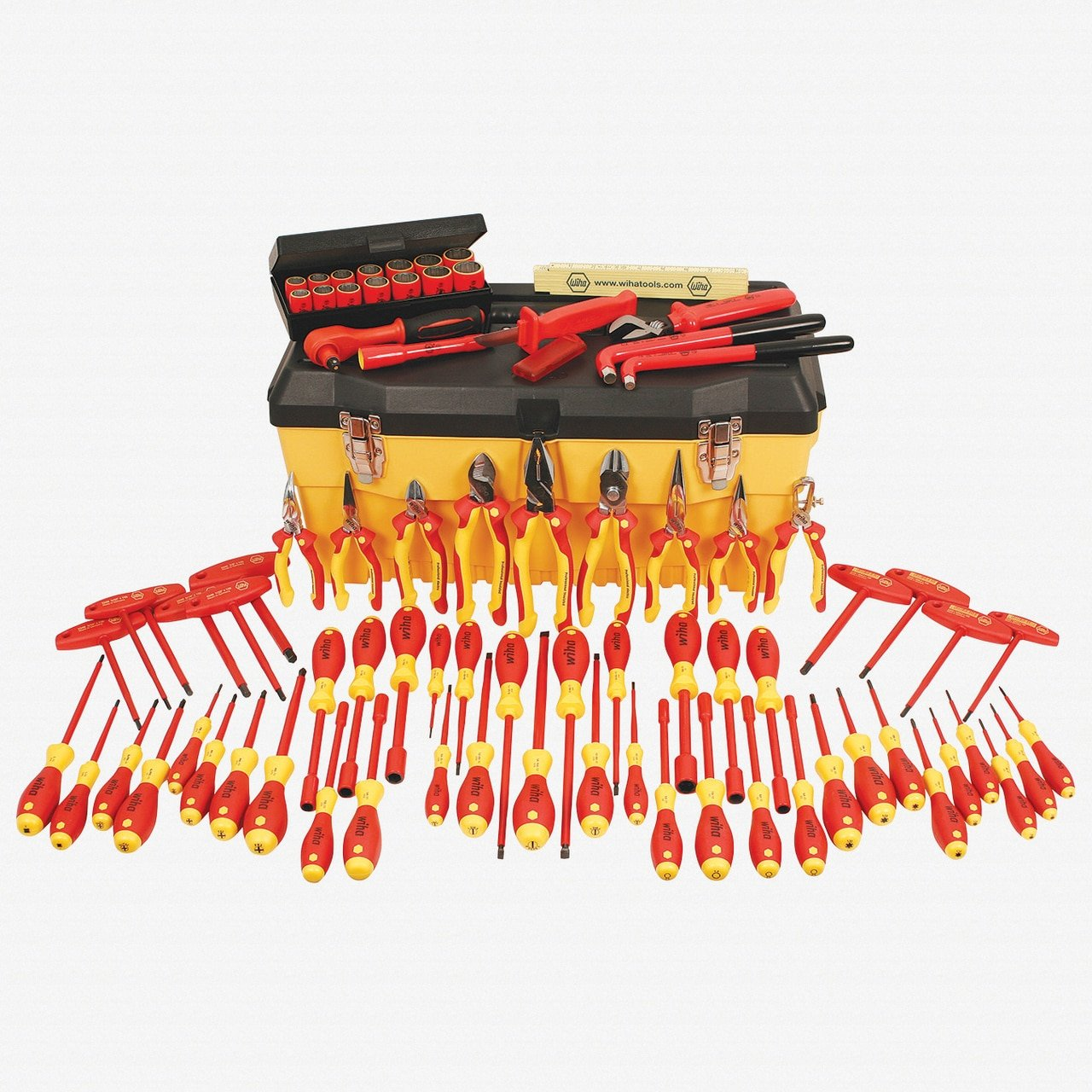 Wiha 32877 Insulated Set with Pliers, Cutters, Nut Drivers, Screwdrivers, T Handles, Knife, Sockets, 3/8-Inch Ratchet, Adj Wrench, Ruler, 80-Piece