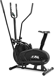 JLL 2-in-1 Elliptical Cross Trainer Exercise Bike CT100, Fitness Cardio Workout Machine Seat + Pulse Heart Rate Sensors, Console Display, 5-level seat adjust 4-level handlebar adjust. Black colour