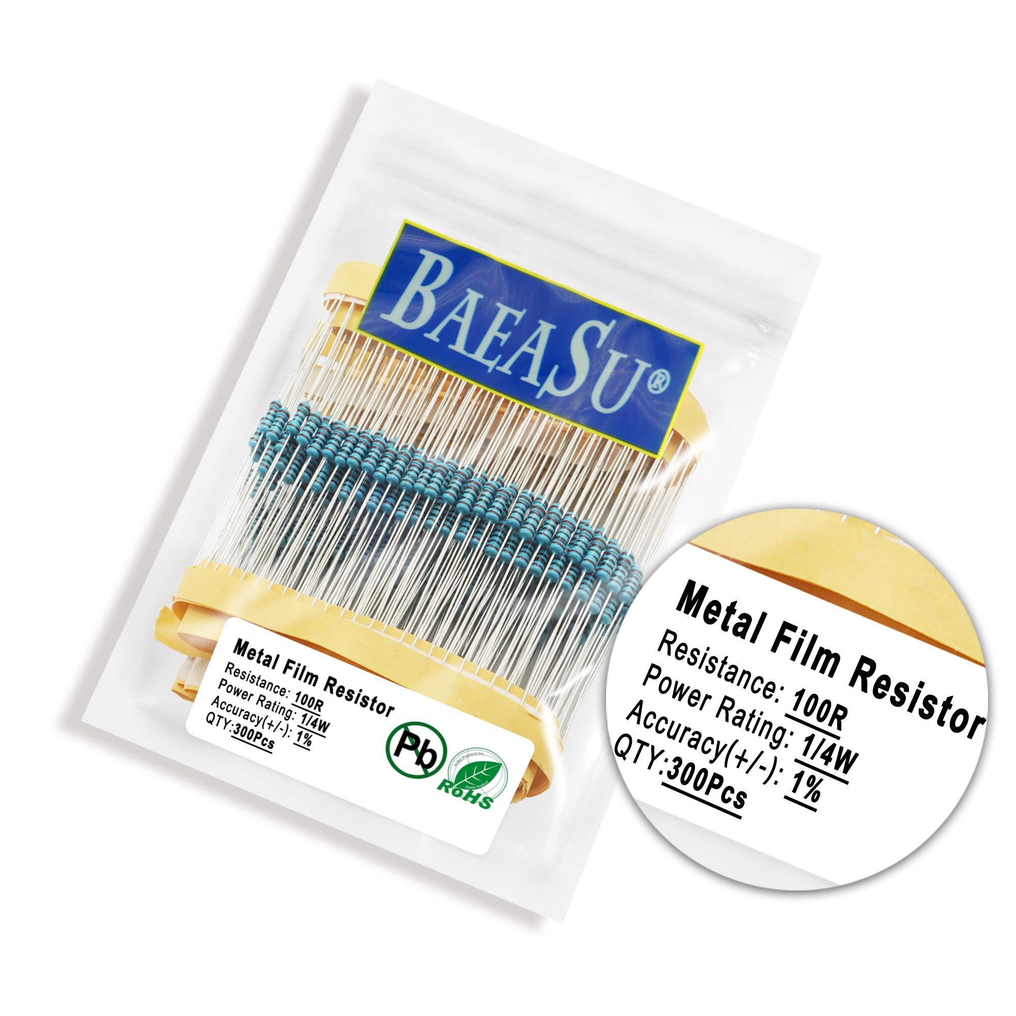 BAEASU 300Pcs 100R 1/4W 0.25W 1% Metal Film