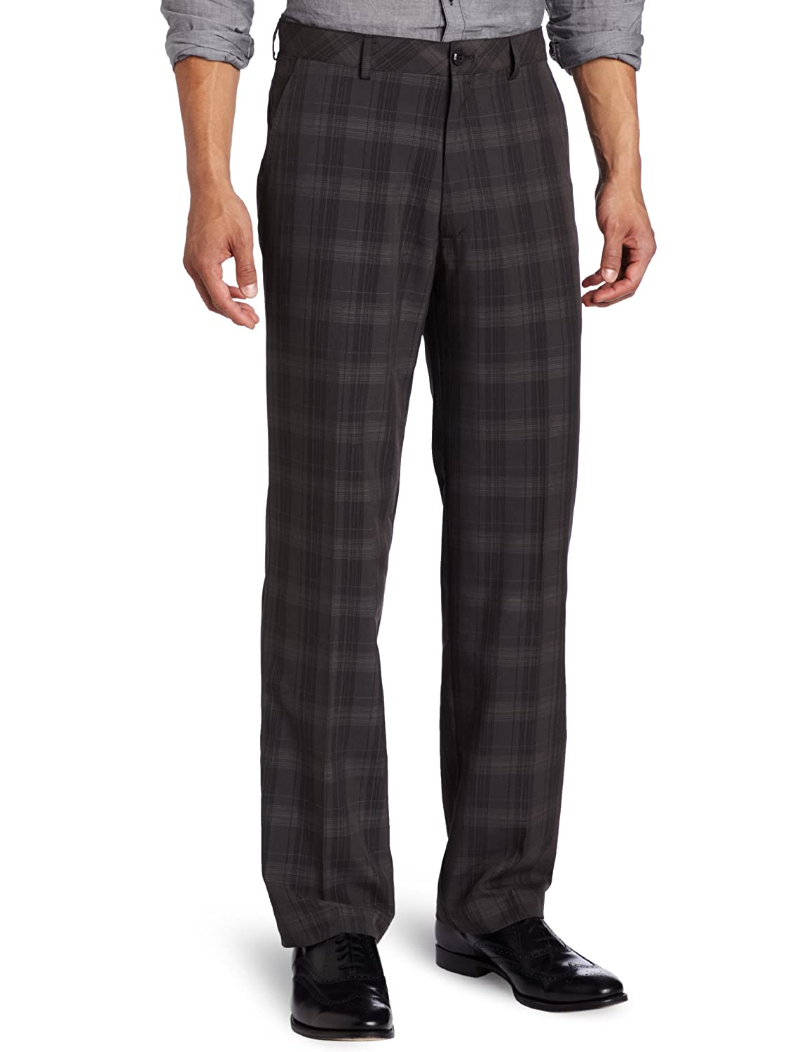 1930s Style Men's Pants Glen Plaid Straight Fit Flat Front Pant  AT vintagedancer.com