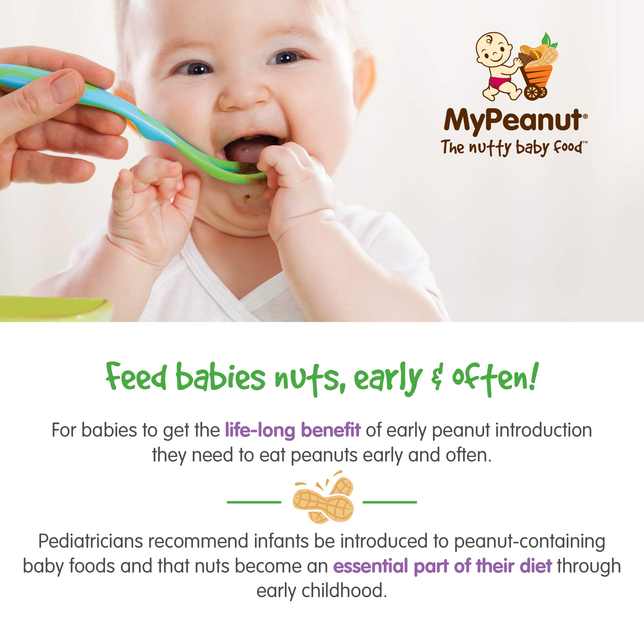 MyPeanut Baby Food, Organic Stage 1 Peanut and Apple Puree for Introducing and Feeding Babies and Toddlers Nuts, Non-GMO, BPA Free 3.5 oz Pouch, 24 Pack by MyPeanut (Image #4)
