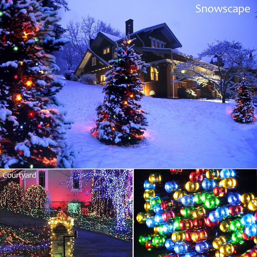 Christmas String Lights 22M/72ft 200 LEDs Indoor String Lights with 8 Flash Changing Modes, 29V Safety Outdoor Waterproof Plug-in Fairy Twinkle Lights for Halloween/Garden/Party/Festive (Multi Color) by Vilaka (Image #5)