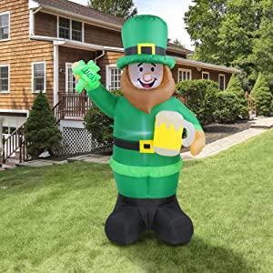 BEBEKULA 6 FT Lighted St Patricks Day Inflatable Leprechaun Holding Shamrock and Beer Cute Lucky, Lucky Day Indoor Outdoor Lawn Yard Art Decoration