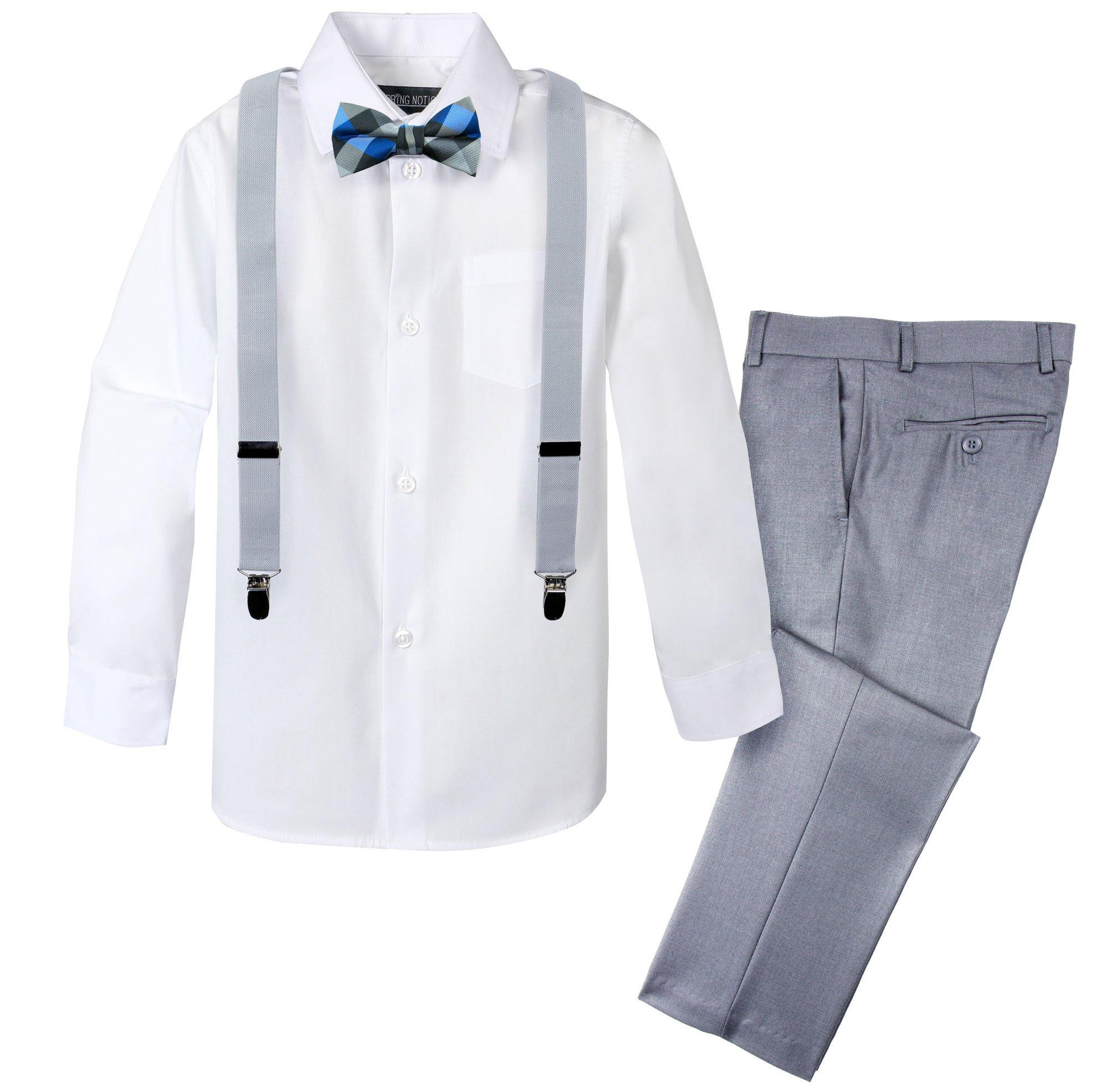 Spring Notion Boys' 4-Piece Patterned Dress up Pants Set 12 Light Grey/Silver