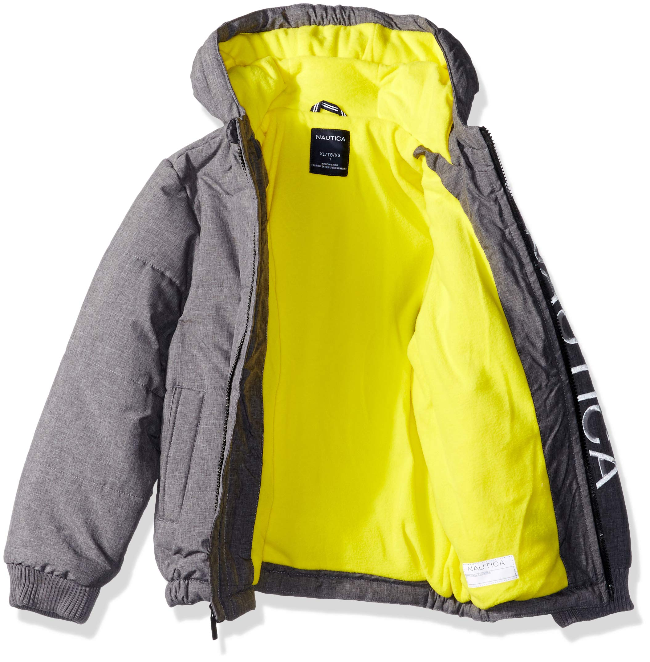 Nautica Boys' Little' Water Resistant Signature Bubble Jacket with Storm Cuffs Austin Coal Heather Medium (5) by Nautica (Image #2)