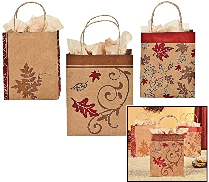 Amazon Com Fall Kraft Paper Bags 12 Pack 9 H X 7 1 4 W X 3 1 2 D