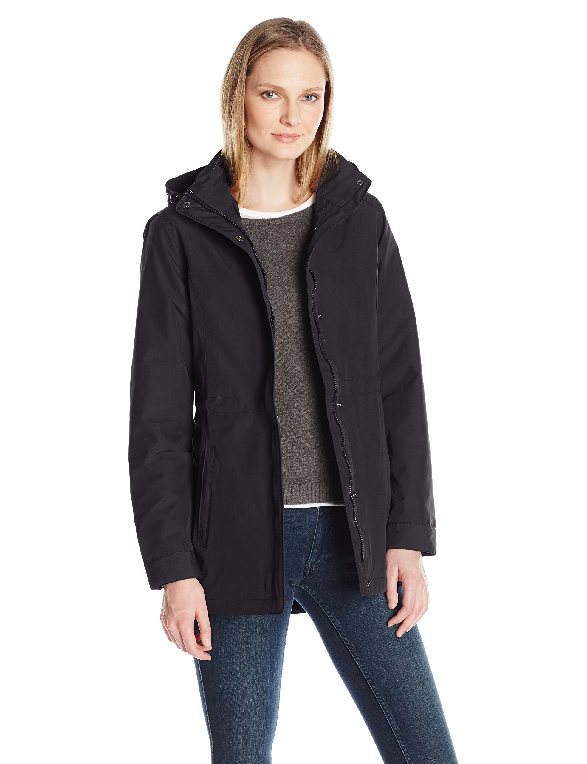 Charles River Apparel Women's Logan Wind and Water Resistant Drop Tail Jacket, Black, S