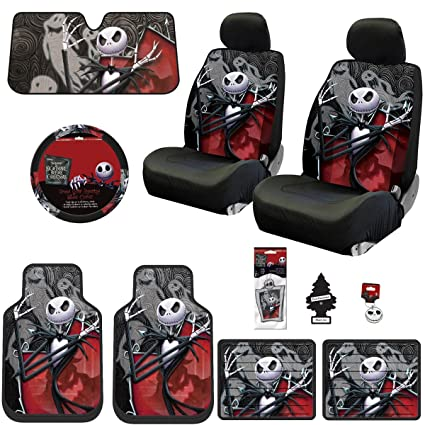New 15 Pieces Nightmare Before Christmas Jack Skellington Ghostly Car Truck SUV Seat Covers Floor Mat