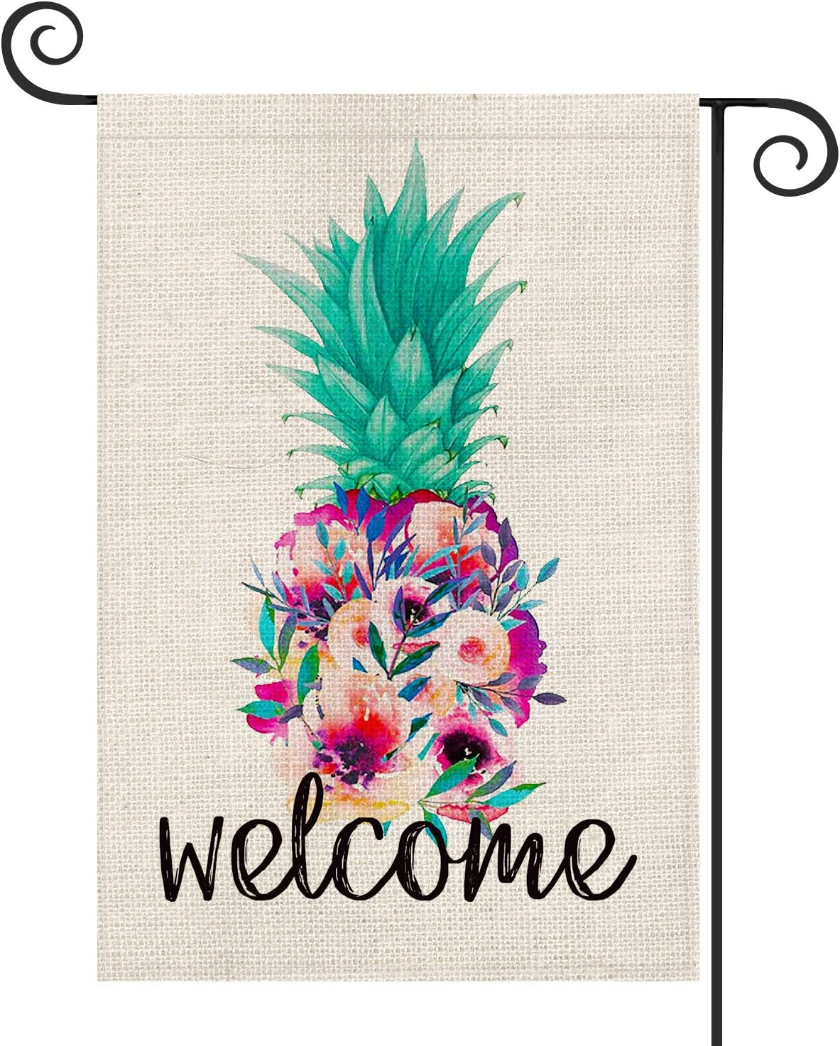AVOIN Welcome Floral Pineapple Garden Flag Vertical Double Sided, Aloha Art Tropical Island Summer Flag Yard Outdoor Decoration 12.5 x 18 Inch