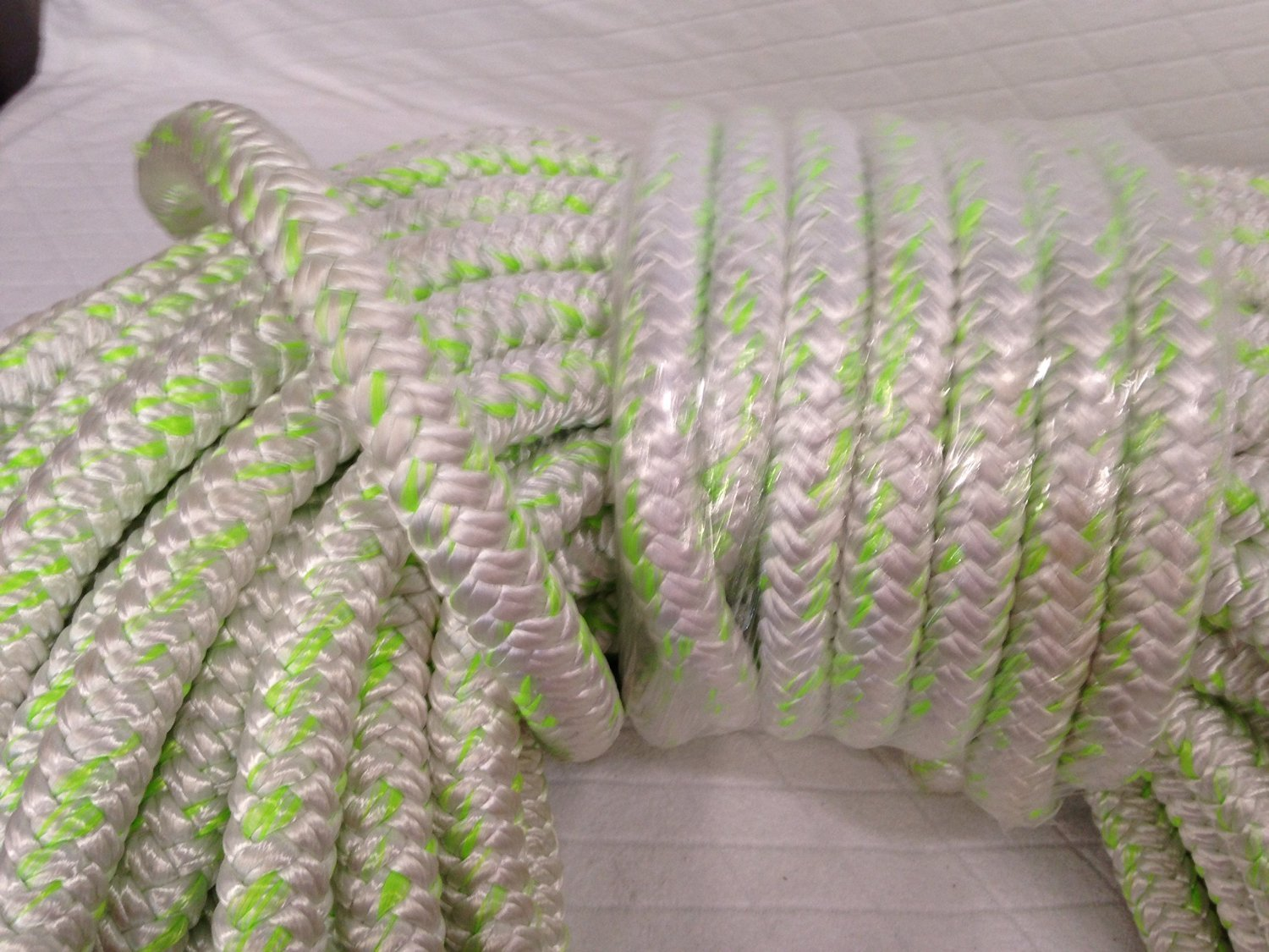 1'' X 100 Feet 12 carrier-24 strand Polyester Arborist Bull Rope, White/Green by Blue Ox Rope (Image #1)