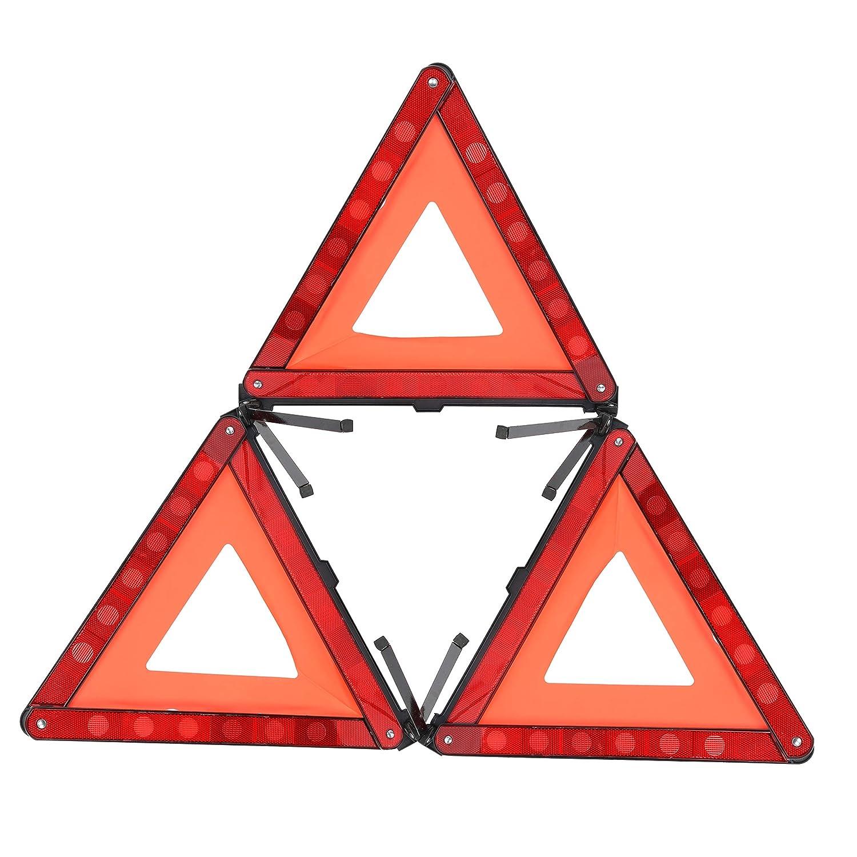YaeTek segnaletica di Sicurezza Stradale Triangolo Riflettente Pieghevole Riflettente Confezione da 3 Triangolo di Avvertimento di Emergenza