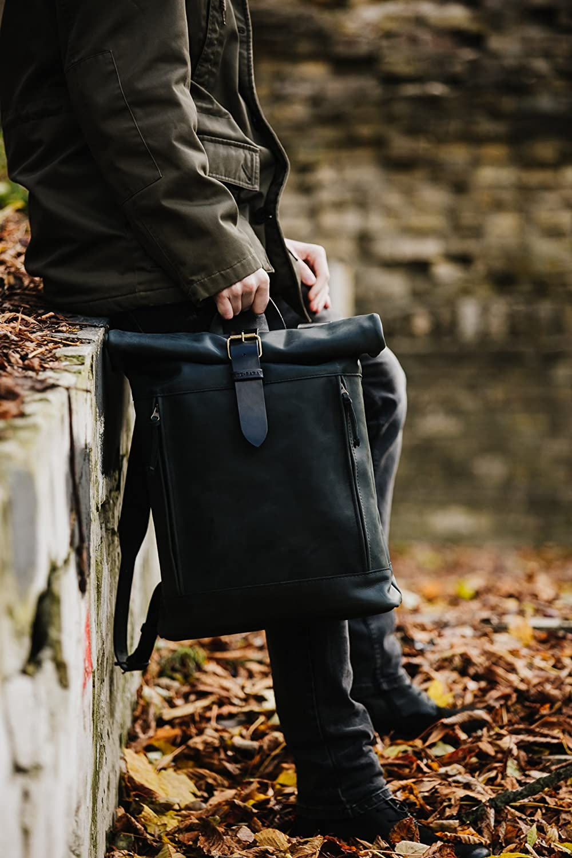Roll top leather backpack by Kruk Garage Laptop backpack