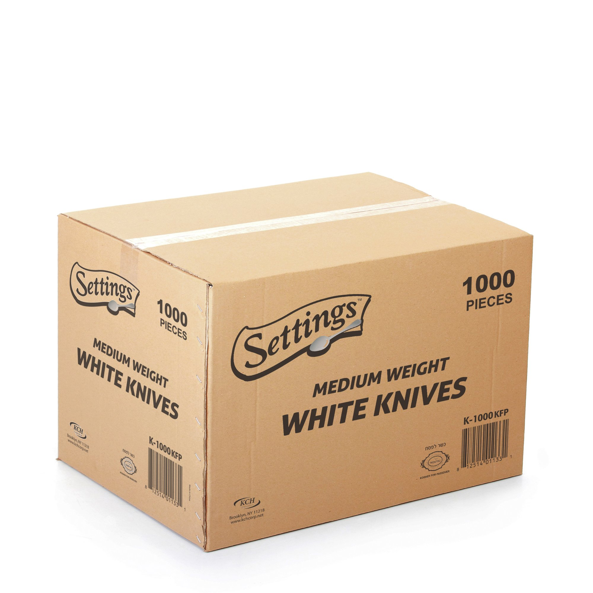 [1000 Count] Settings Plastic White Knives, Practical Disposable Cutlery, Great For Home, Office, School, Party, Picnics, Restaurant, Take-out Fast Food, Outdoor Events, Or Every Day Use, 1 Box by Settings