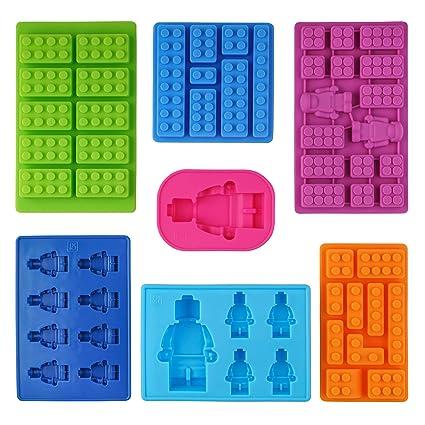 Kompanion Moldes de Silicona en Forma de Lego - Juego de 7 Bandejas de Cubitos para