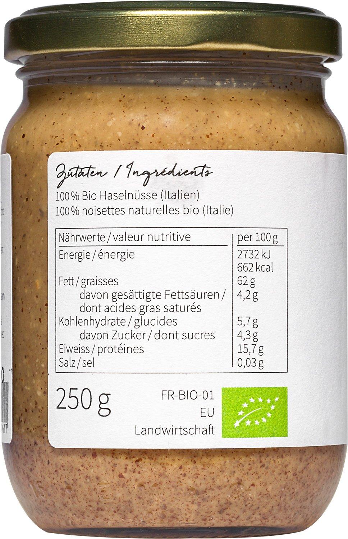 nu3 - Puré de avellanas Bio | 250g en tarro de vidrio | Mantequilla de calidad sin sal, azúcar o aceite adicionales | Delicioso sabor de nueces naturales ...