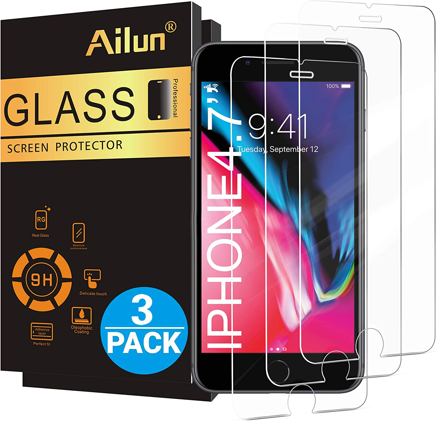 Ailun Screen Protector for Apple iPhone SE 2nd Generation, iPhone 8,7,6s,6, 4.7-Inch,[3 Pack] 2.5D Edge Tempered Glass,Case Friendly 8140RXSiuQL