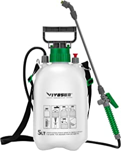VIVOSUN 1.3 Gallon Lawn and Garden Pump Pressure Sprayer with 3 Water Nozzles, Pressure Relief Valve, Adjustable Shoulder Strap