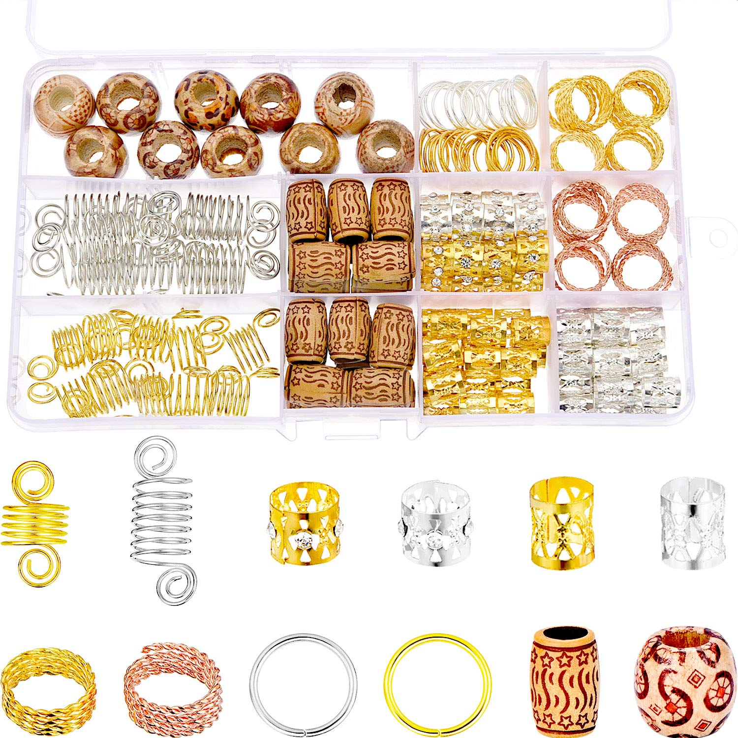 170 Pieces Aluminum Dreadlocks Beads Metal Cuffs Hair Wraps Natural Painted Wood Beads Hair Braiding Beads Jewelry Hair Decoration Accessories with Storage Box TecUnite