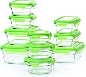2 X New Snaplock Lid: Tempered Glasslock Storage Containers with green lids 20pc set~Microwave & Oven Safe
