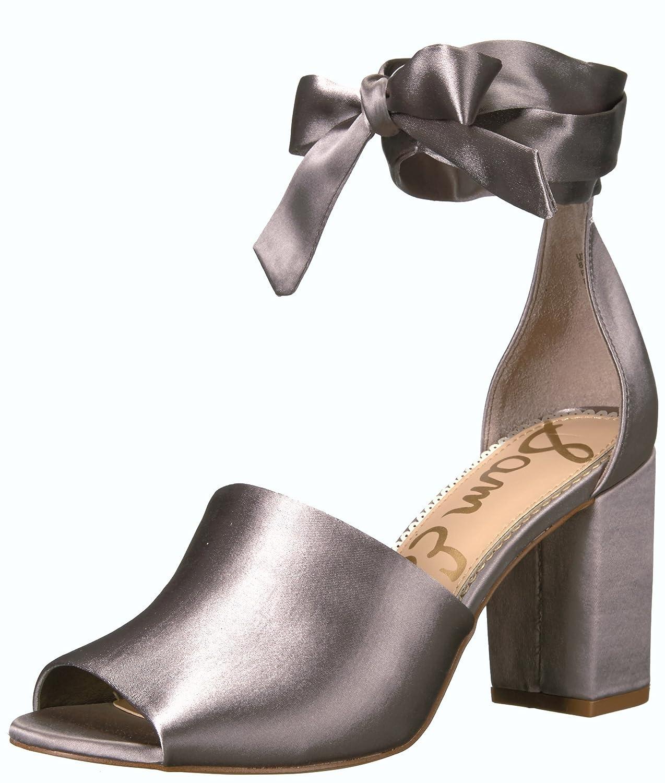 Sam Edelman Women's Odele Heeled Sandal B01NCL8ECK 5 B(M) US|Light Grey Satin
