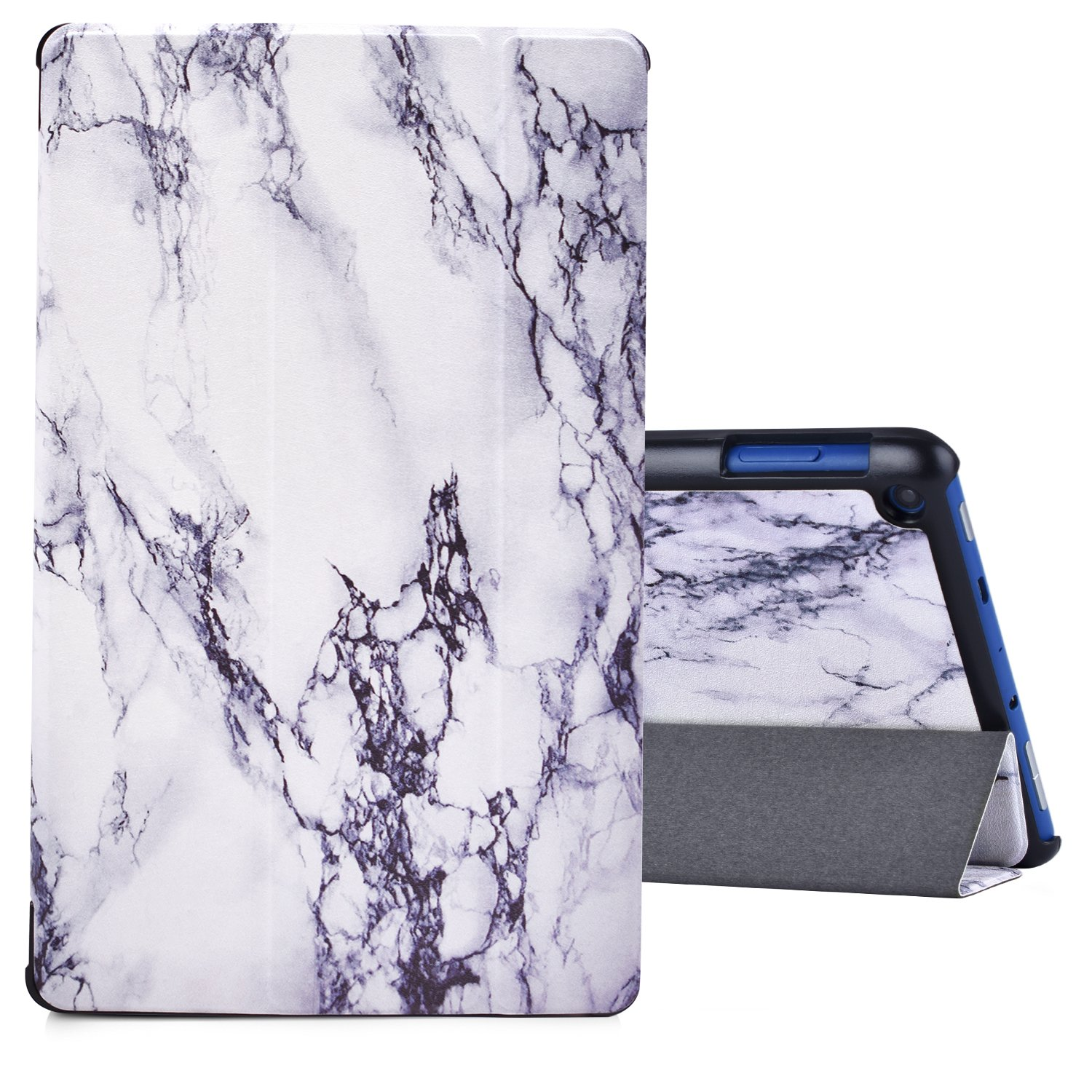 Dopup Fire HD 8 Case Tablet(7th Generation,2017 Release) Stand Protective Smart Cover with Auto Sleep/Wake(White Marble)