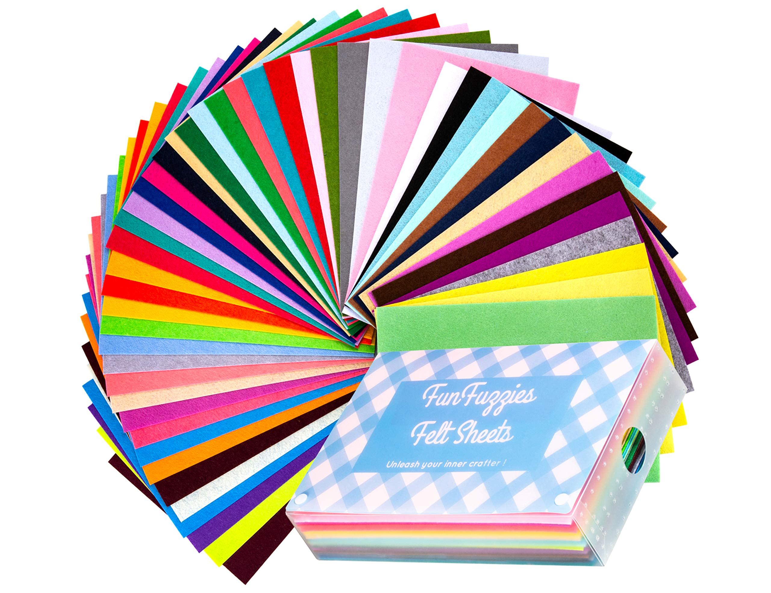 Assorted Stiff Felt Fabric Set: 50 Unique Sheets 8x12 inch (20x30cm) with Handy Storage Container Case; DIY Crafts, Sewing, Decorative Projects