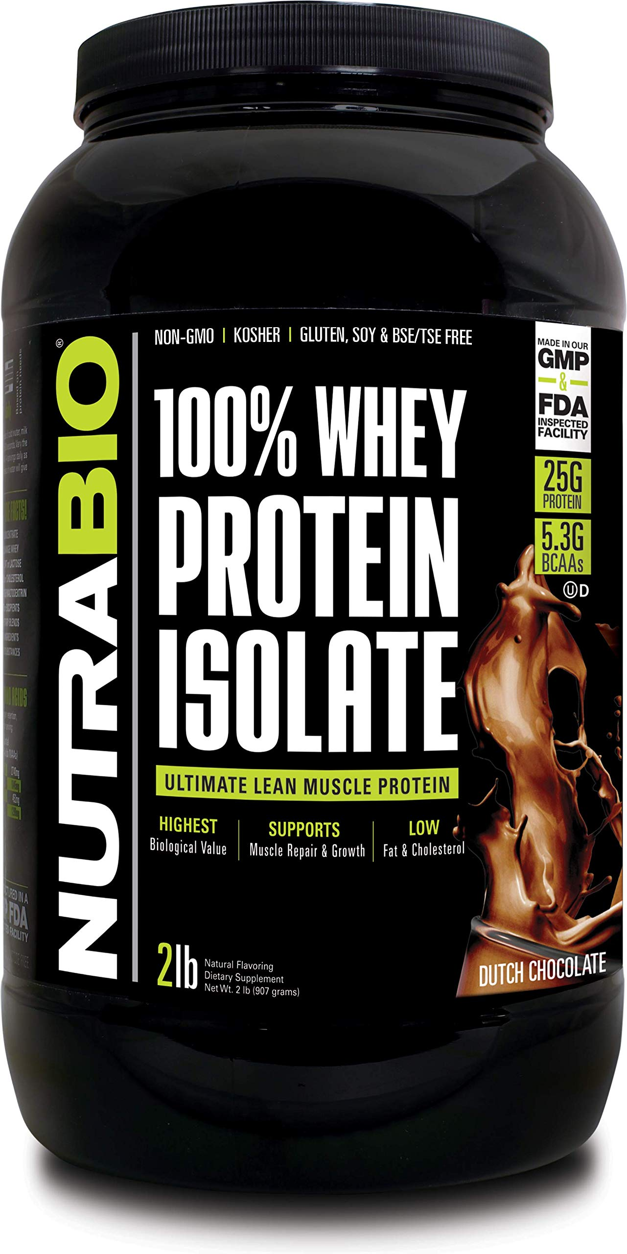 NutraBio 100% Whey Protein Isolate (Chocolate, 2 Pounds) by NutraBio