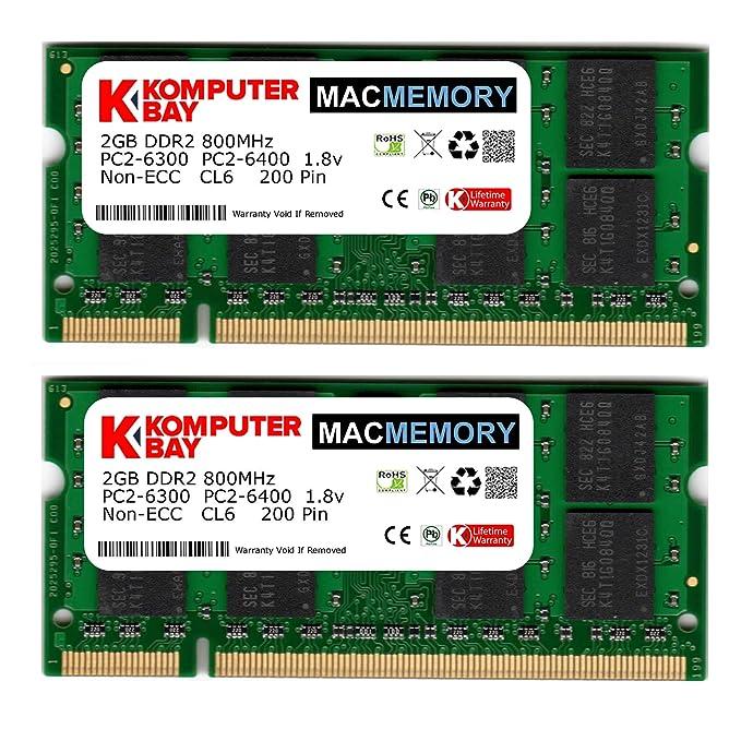 Komputerbay KB_2GB_2X1GB_PC2_6400_800_SODIMM - Tarjetas de Memoria SODIMM para portátiles, 2GB (2X 1GB), DDR2 800MHz PC2-6300/PC2-6400 DDR2 800 (200 ...