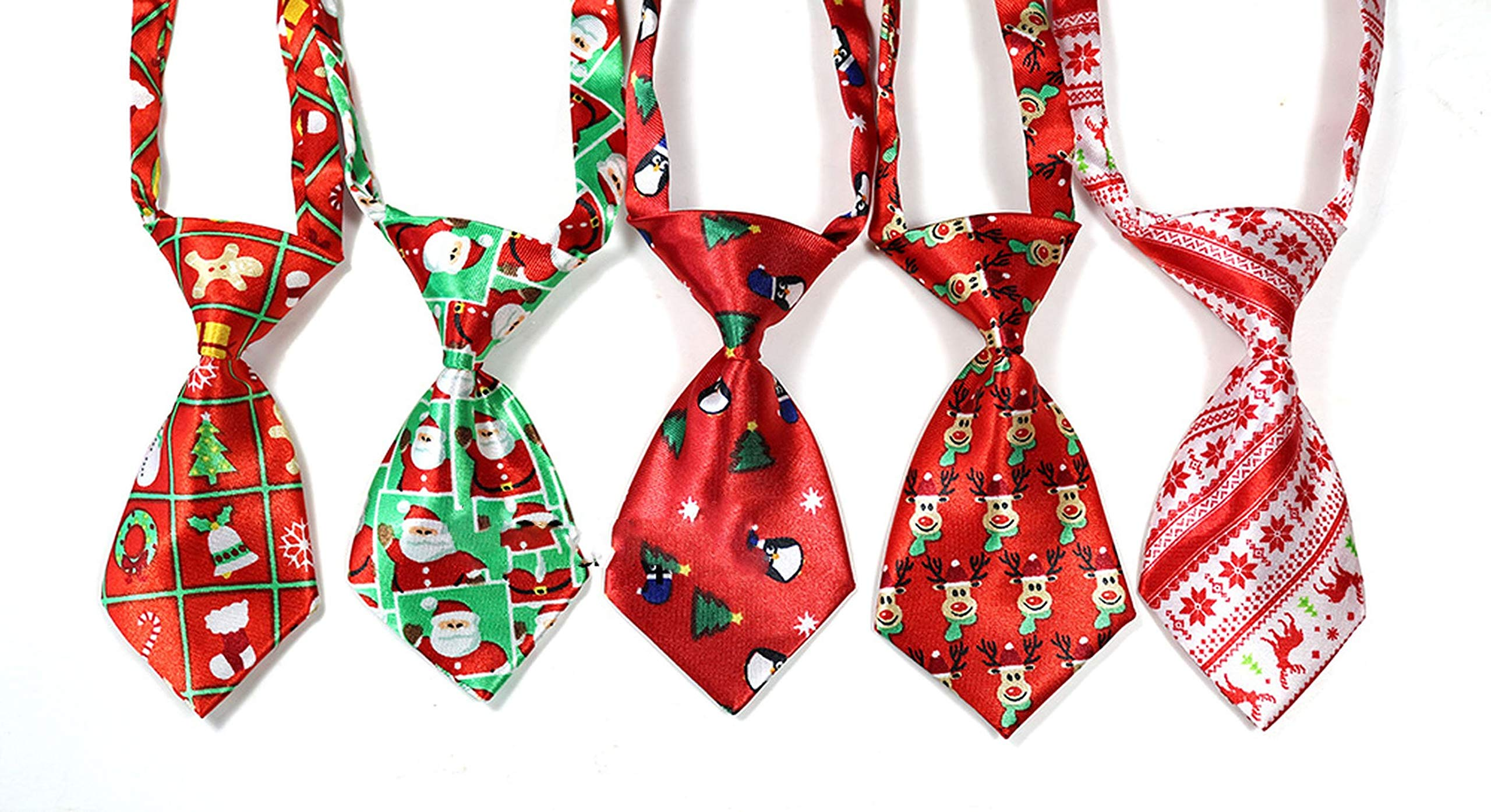 100pcs Christmas Pet Supplies Pet Dog Cat Xmas Neckties Bowties Santa Deer Pet Dog Grooming Accessories Small-Middle Dog Ties,Mix Colour