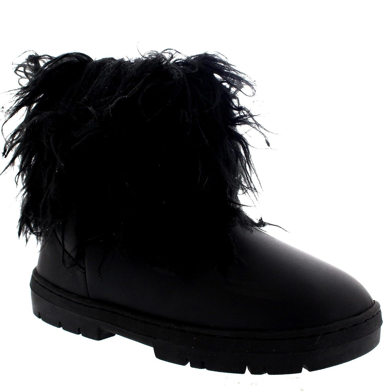 Femmes Longue Fourrure CoveRouge Pluie Fourrure Doublée Hiver Imperméable  Short Neige Bottes - Noir Cuir - UK10 EU43 - BA0493  Amazon.fr  Chaussures  et Sacs 1b8763eed25