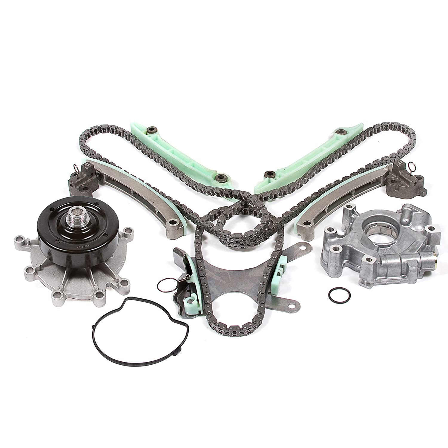 Evergreen TK5047NGWOP Fits 03-08 Mitusbishi Jeep Dodge 4.7L Timing Chain Kit Oil Pump Water Pump without Gears NGC Cam Gear