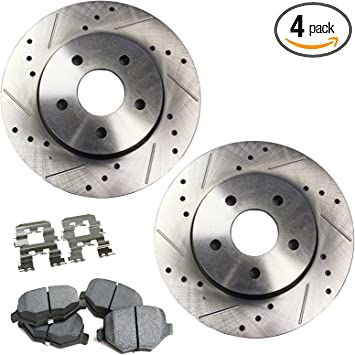 Rear Kit Performance Drilled and Slotted Disc Brake Rotors And Ceramic Pads