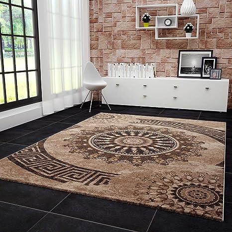 VIMODA Teppich Klassisch Wohnzimmer Schlafzimmer Gemustert Kreis sehr dicht  gewebt Meliert Ornamente Muster in Braun Beige Schwarz Top Qualität ...