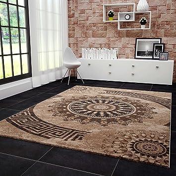 VIMODA Teppich Klassisch Wohnzimmer Schlafzimmer Gemustert Kreis sehr dicht  gewebt Meliert Ornamente Muster in Braun Beige Schwarz Top Qualität 80x150  ...