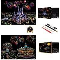 UPSTONE Scratch Art Paper Rainbow Painting Sketch Pad DIY Night View Scratchboard for Adults and Kids,16 X 11.5 Inches (Dream Castle&Amusement Park)
